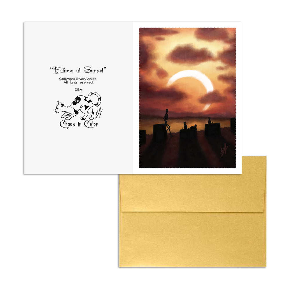 Eclipse at Sunset (Skeleton with Three Cats) 5x7 Art Card Print