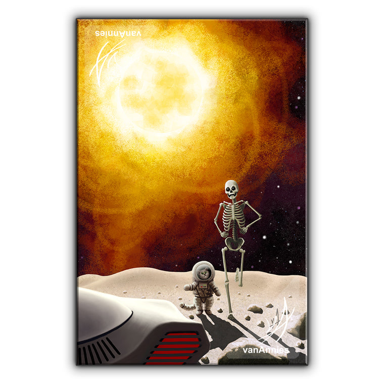 Eight Minutes (Apocalyptic Cat and Skeleton) Wrapped Canvas Print