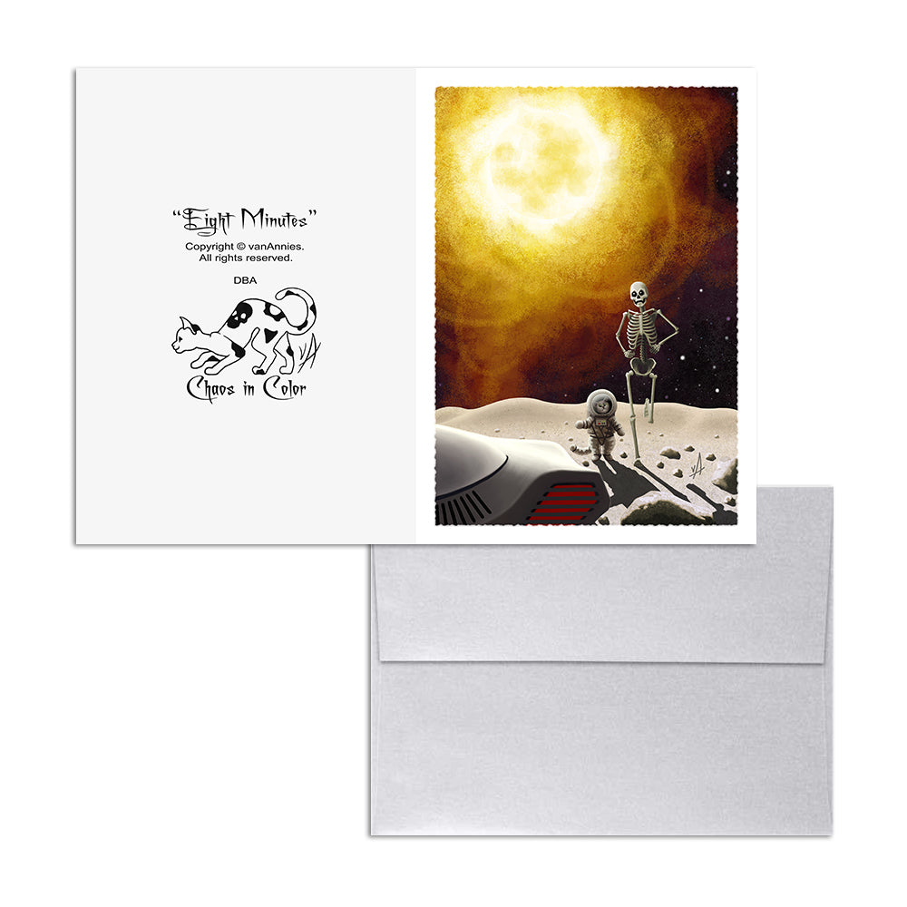 Eight Minutes (Apocalyptic Cat and Skeleton) 5x7 Art Card Print