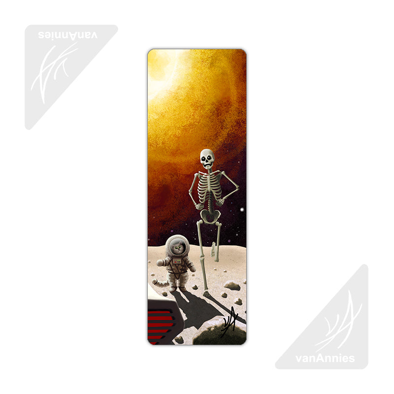 Eight Minutes (Apocalyptic Cat and Skeleton) Metal Bookmark