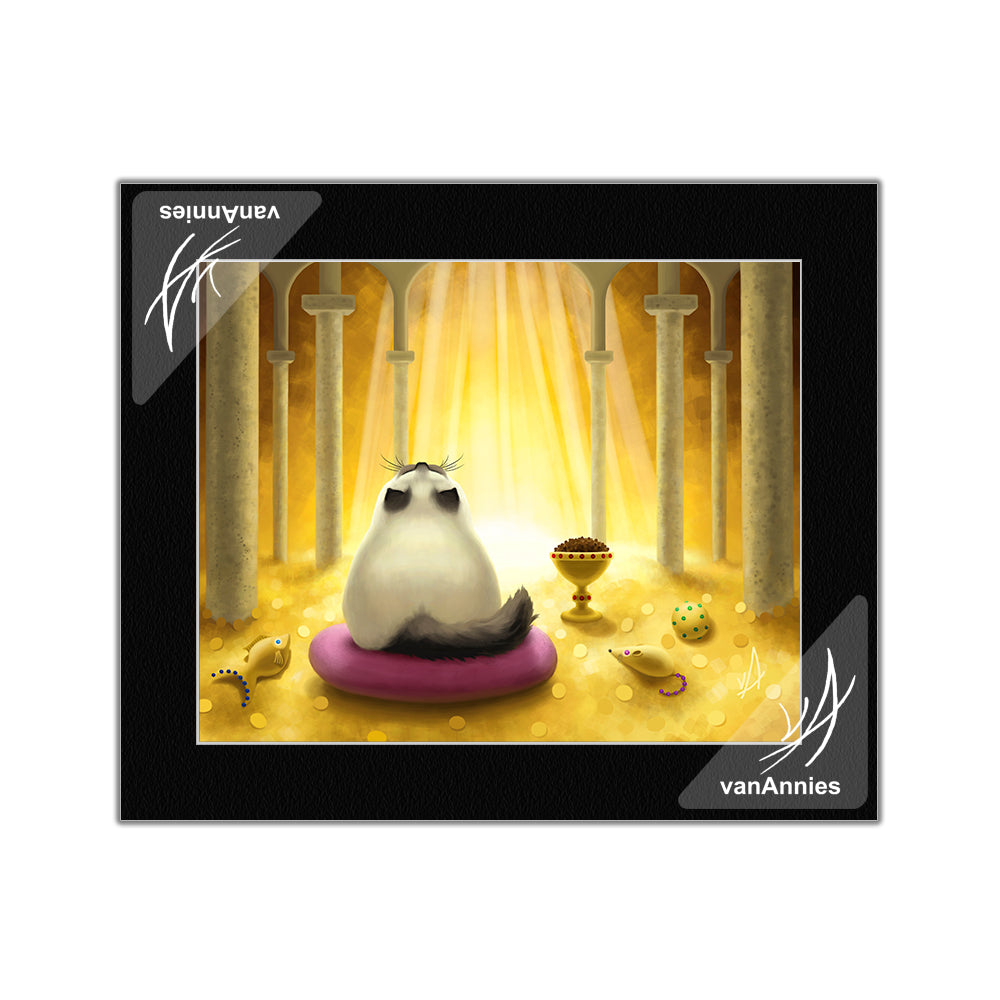 El Dorado (Siamese Cat with Golden Hoard) Matted Print