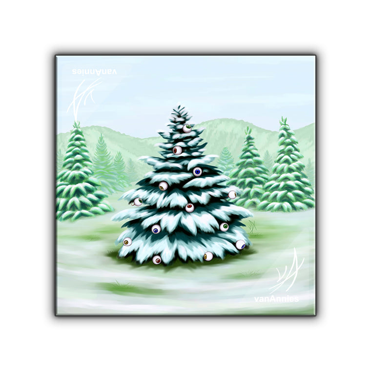Eyeball Spruce Tree Wrapped Canvas Print
