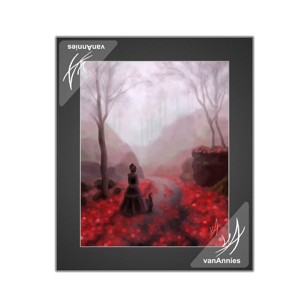 February Fog (Victorian Woman and Cat) Matted Print