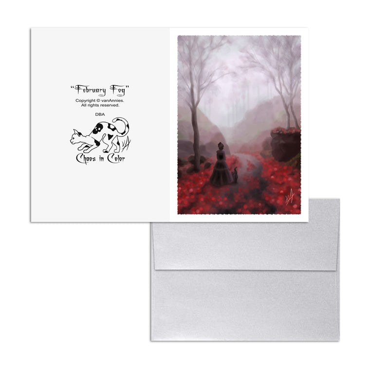 February Fog (Victorian Woman and Cat) 5x7 Art Card Print