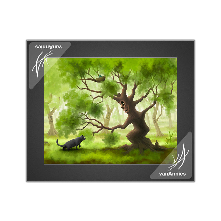 Friendly Forest (with Gray Cat) Matted Print