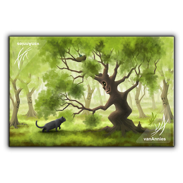 Friendly Forest (with Gray Cat) Wrapped Canvas Print