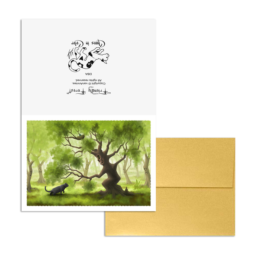 Friendly Forest (with Gray Cat) 5x7 Art Card Print