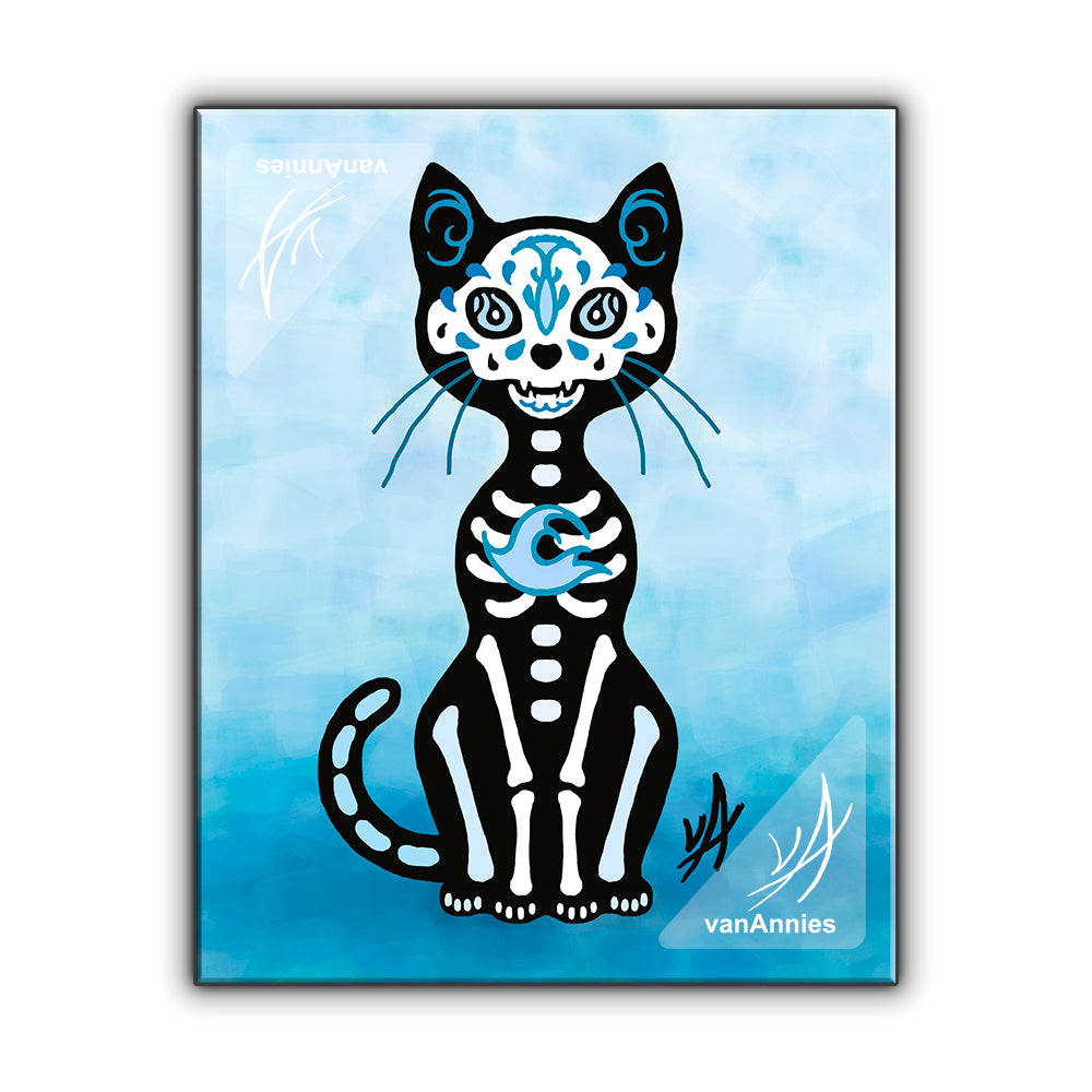 Gato Azul (Dia de los Muertos Blue Cat) Wrapped Canvas Print