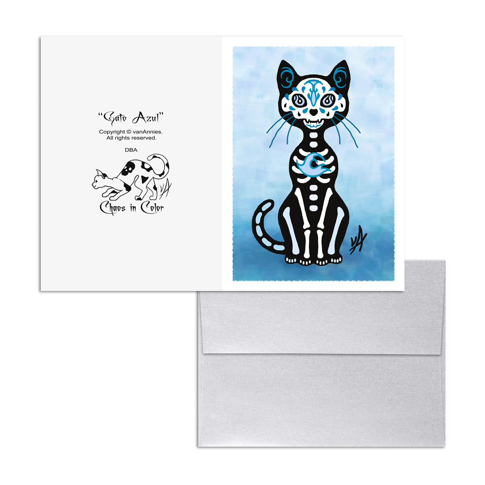 Gato Azul Dia de los Muertos (Day of the Dead Blue Cat) 5x7 Art Card Print