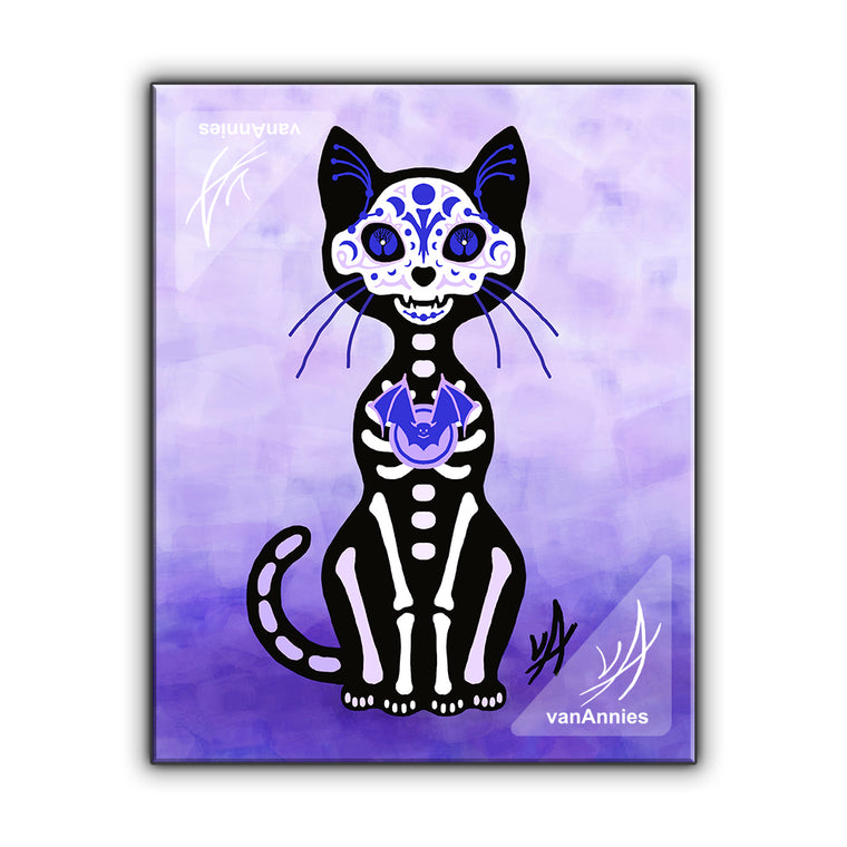 Gato Luna (Dia de los Muertos Purple Cat) Wrapped Canvas Print