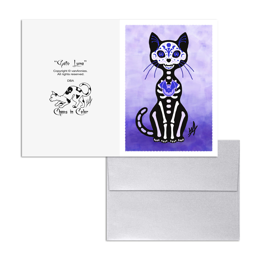 Gato Luna Dia de los Muertos (Day of the Dead Purple Cat) 5x7 Art Card Print