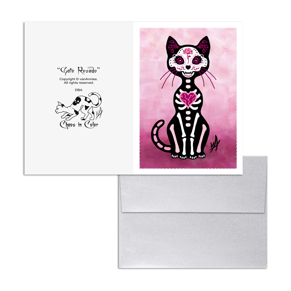 Gato Rosado Dia de los Muertos (Day of the Dead Pink Cat) 5x7 Art Card Print