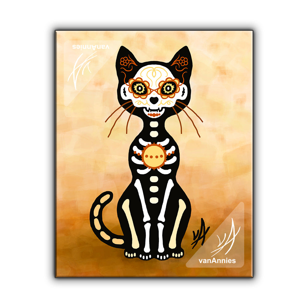 Gato Sol (Dia de los Muertos Gold Cat) Wrapped Canvas Print