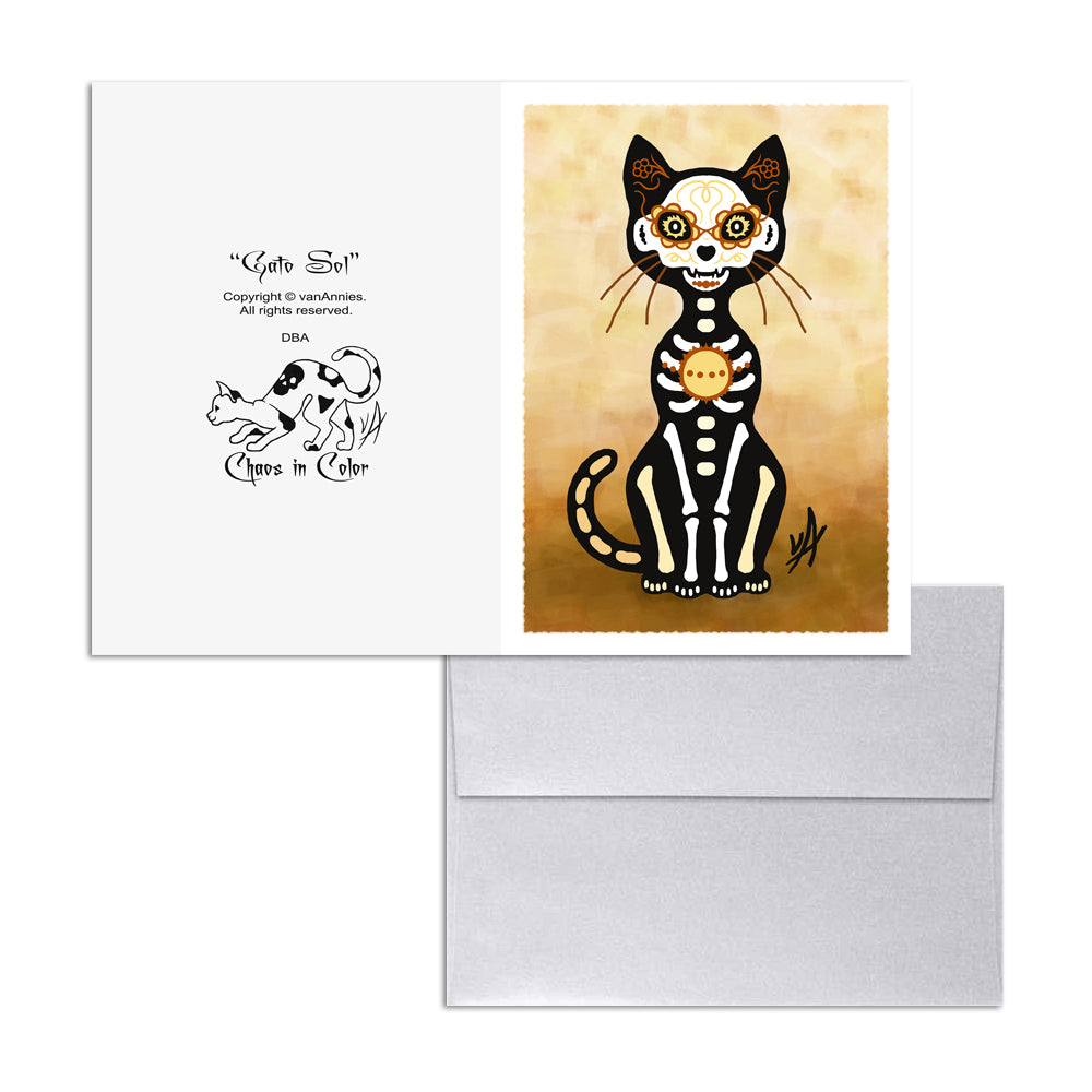 Gato Sol Dia de los Muertos (Day of the Dead Gold Cat) 5x7 Art Card Print