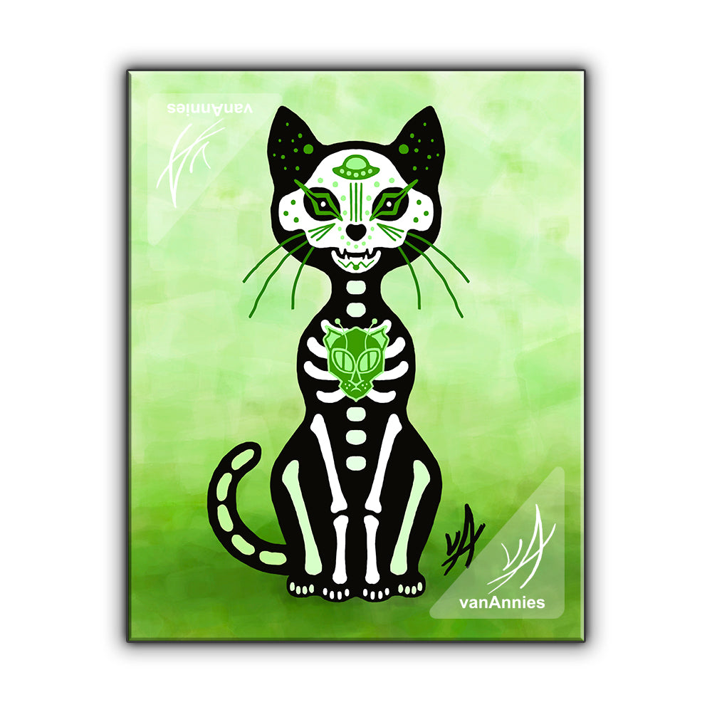 Gato Verde (Dia de los Muertos Green Cat) Wrapped Canvas Print