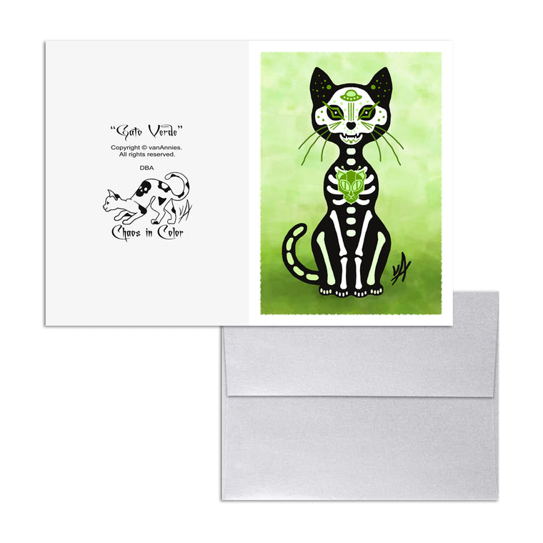 Gato Verde Dia de los Muertos (Day of the Dead Green Cat) 5x7 Art Card Print