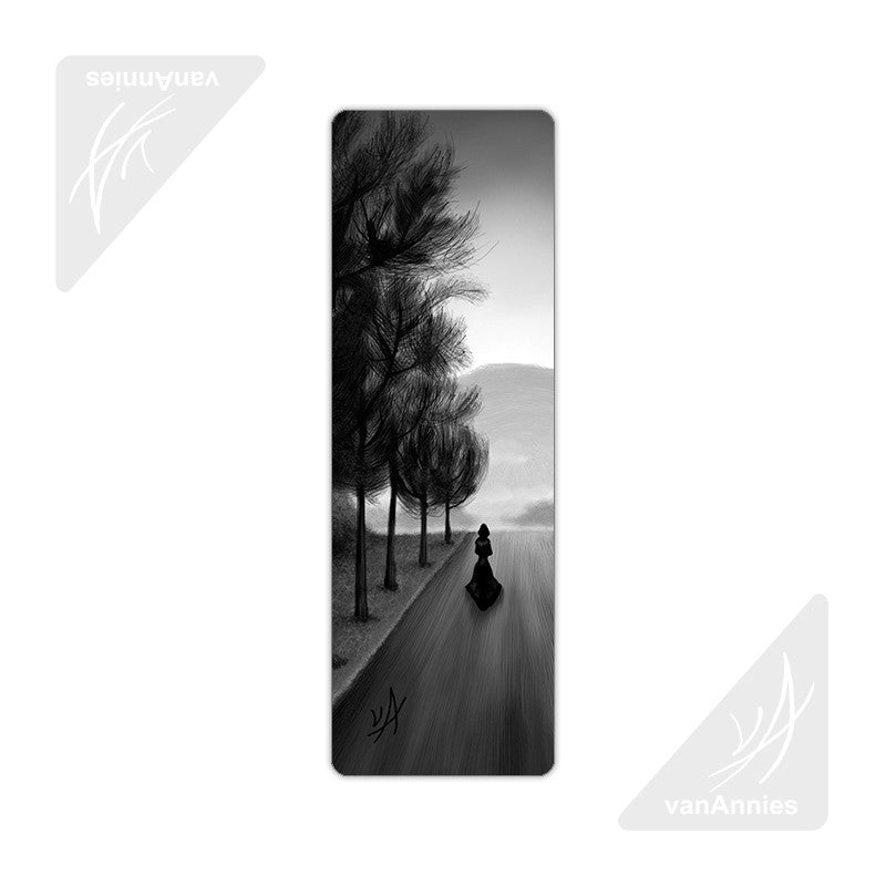 Gray Road with Shadowy Figure Metal Bookmark