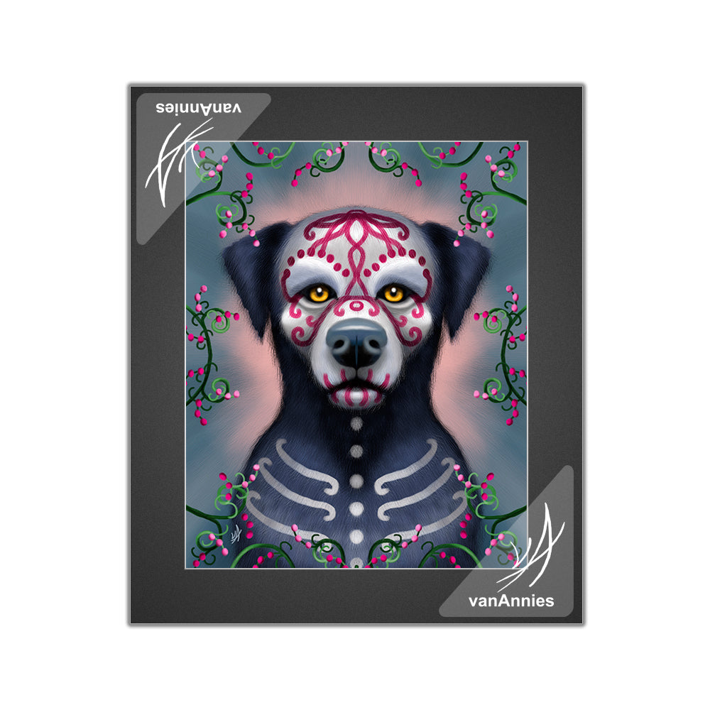 Grimaldi the Sugar Skull Dog Matted Print