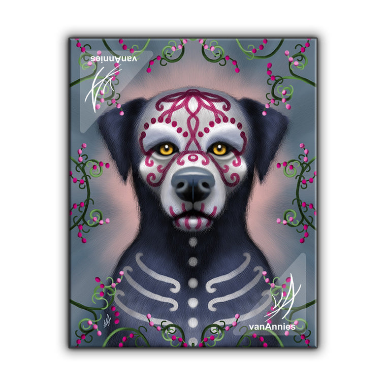 Grimaldi the Sugar Skull Dog Wrapped Canvas Print