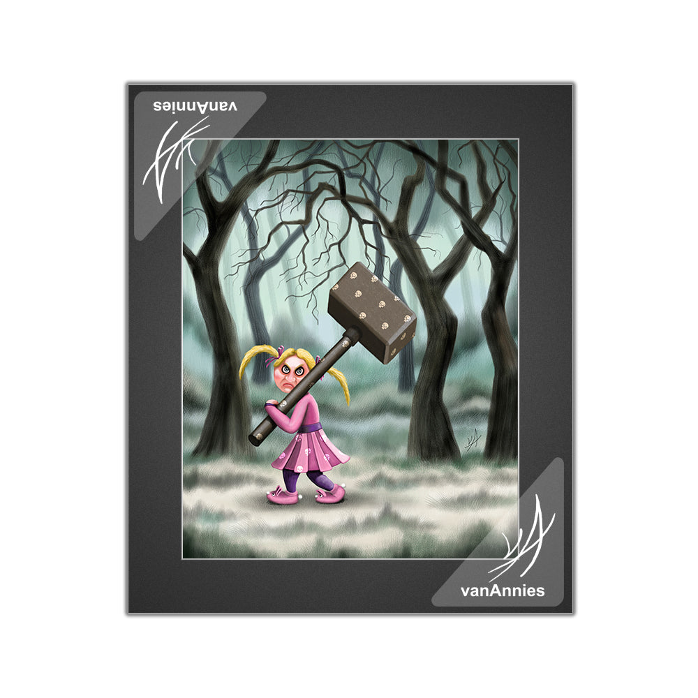 Hammer Girl with Skull Covered Hammer Matted Print
