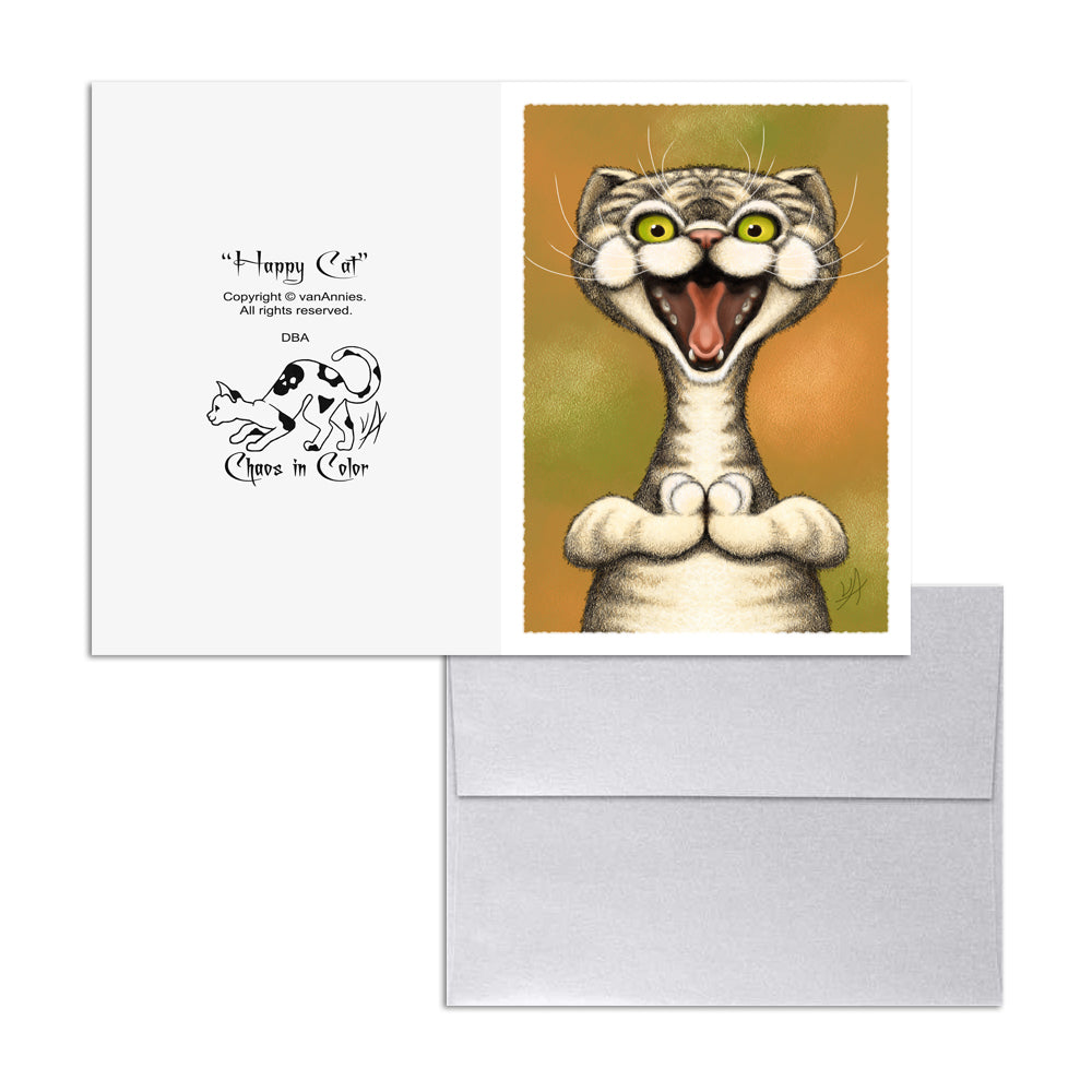 Happy Cat 5x7 Art Card Print