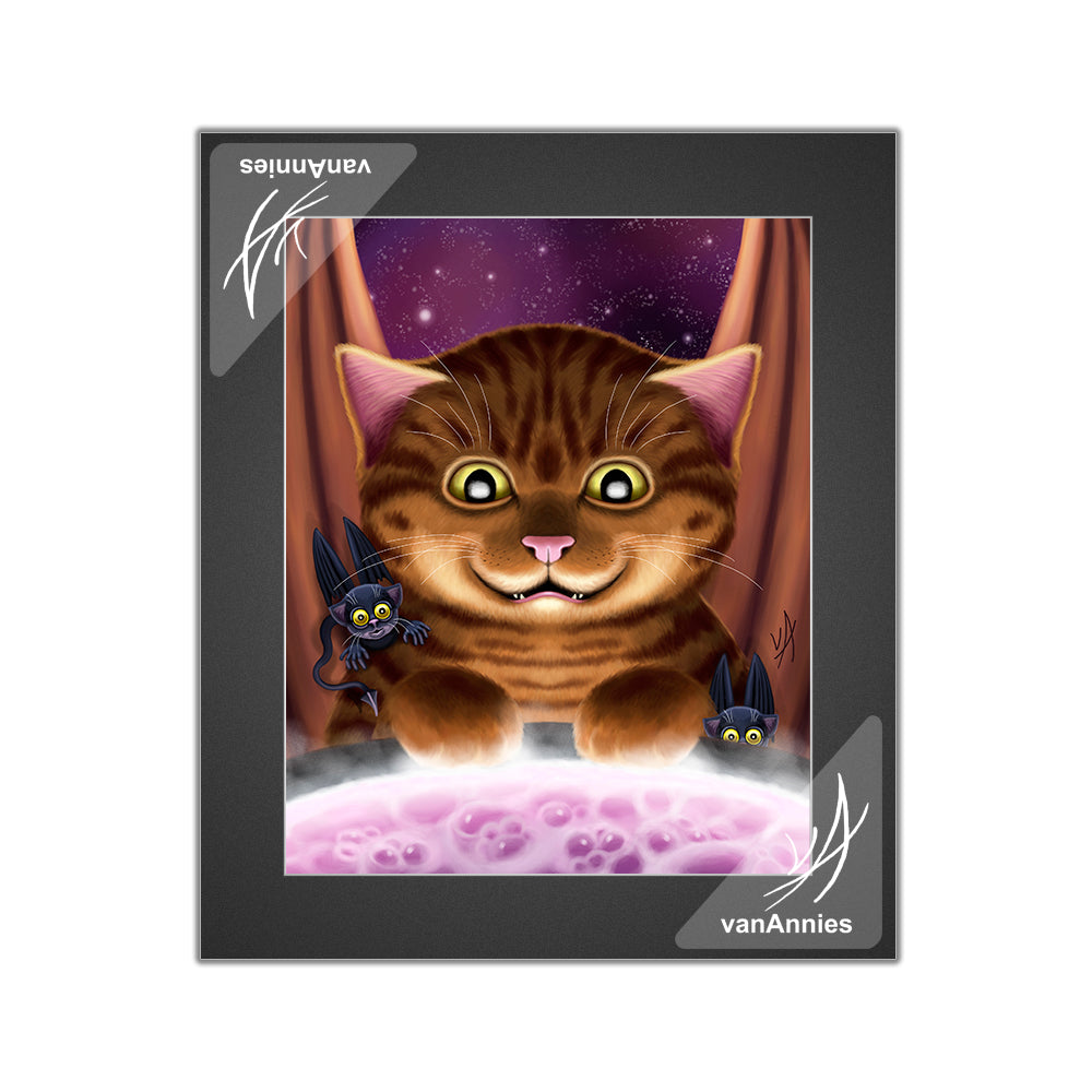 Hocus Pocus Magic Winged Cat Matted Print