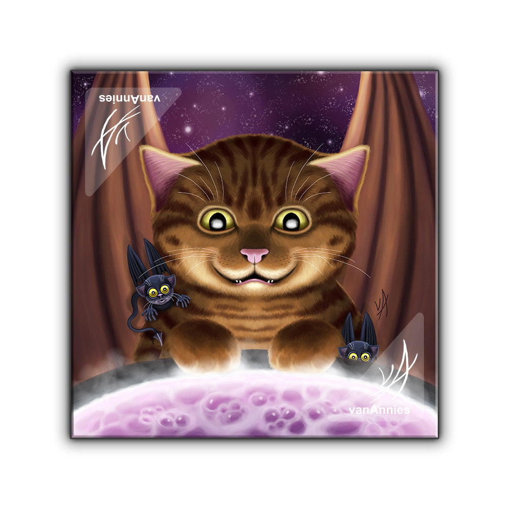 Hocus Pocus Magic Winged Cat Wrapped Canvas Print