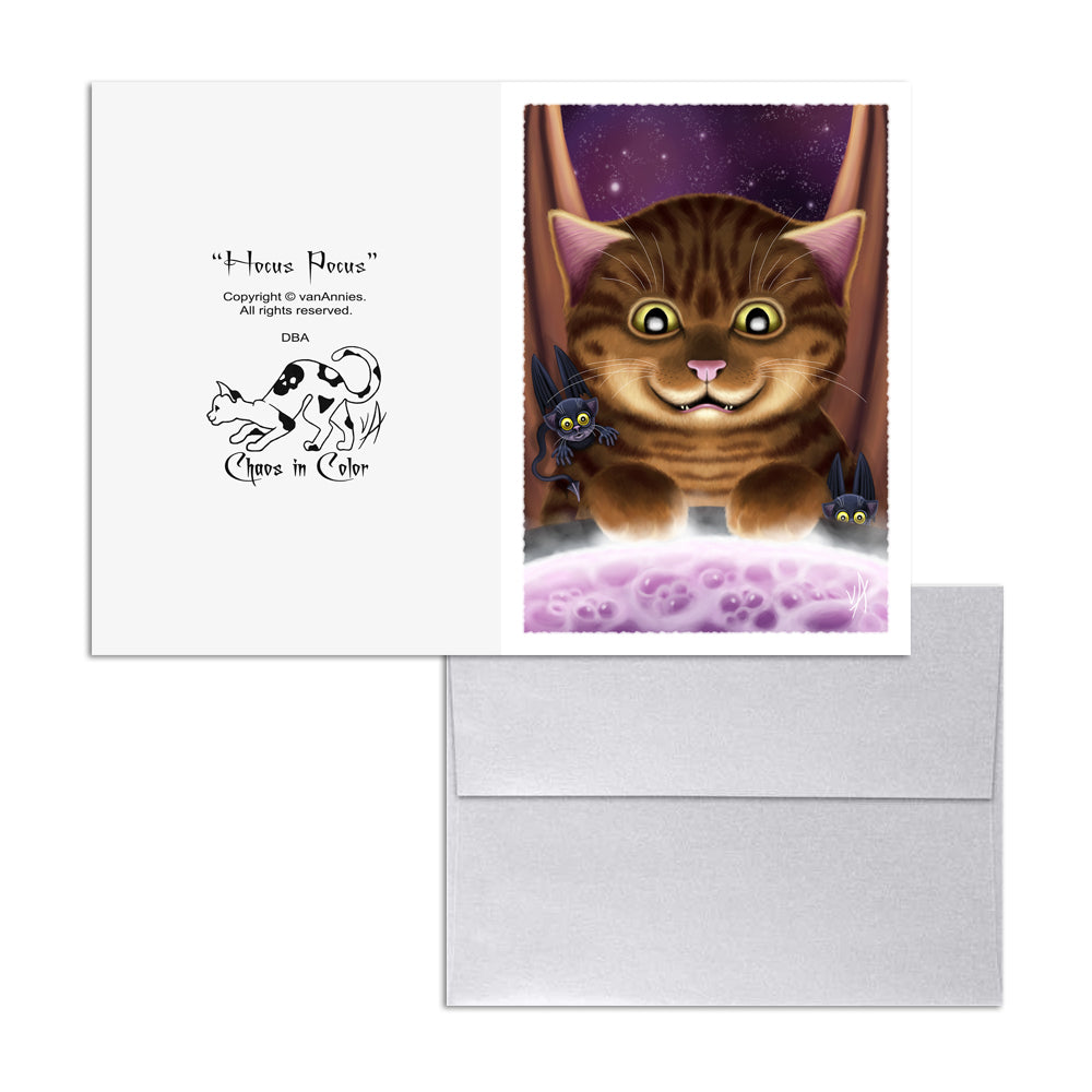 Hocus Pocus (Magic Cat with Bats) 5x7 Art Card Print
