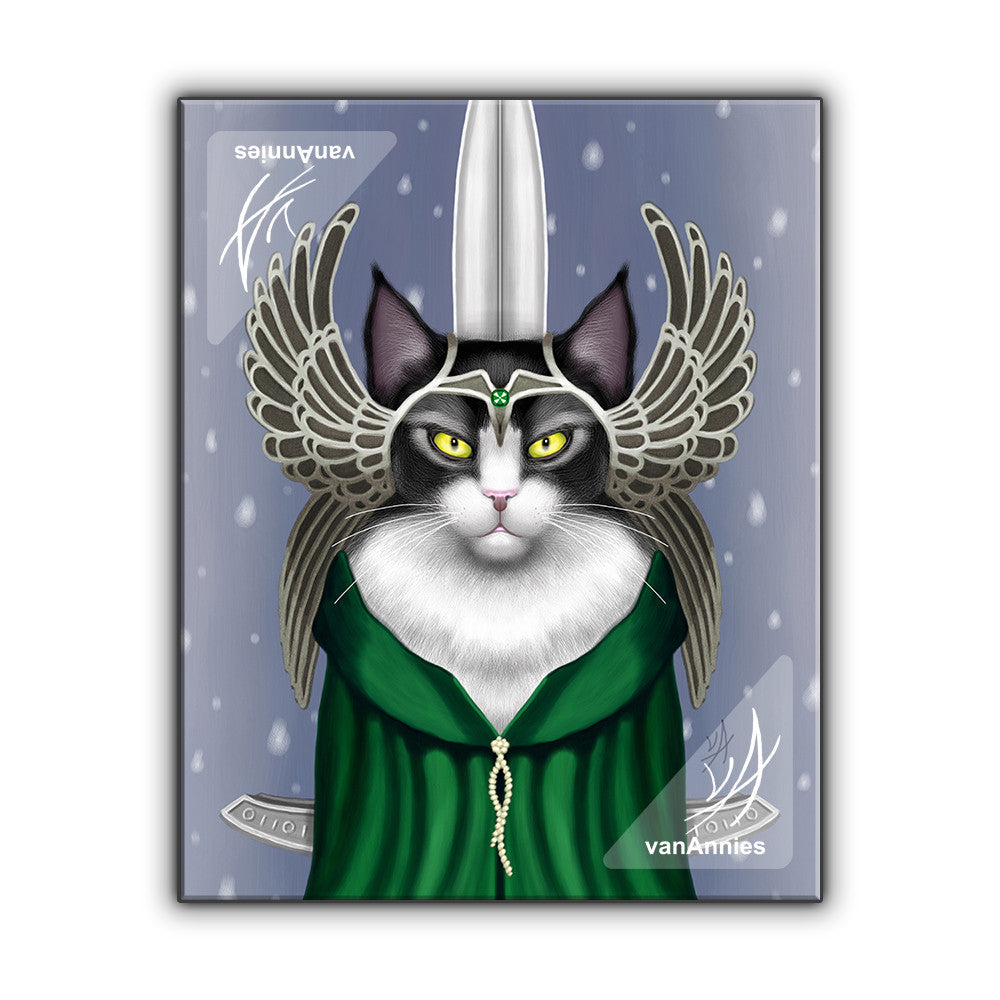 Lady Sif the Warrior Cat Goddess Wrapped Canvas Print