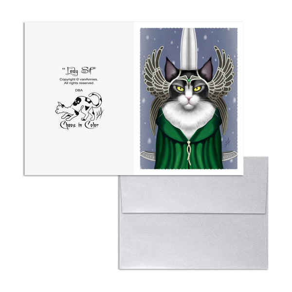 lady sif black and white cat 5x7 art card print  chaos