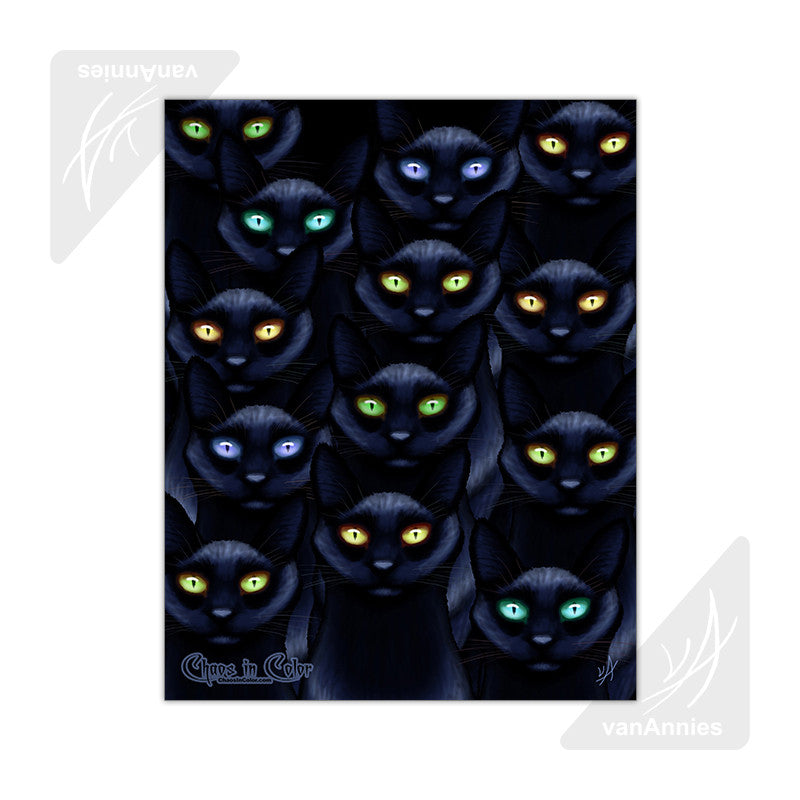 Learn to Love the Dark with Thirteen Black Cats 11x14 Poster
