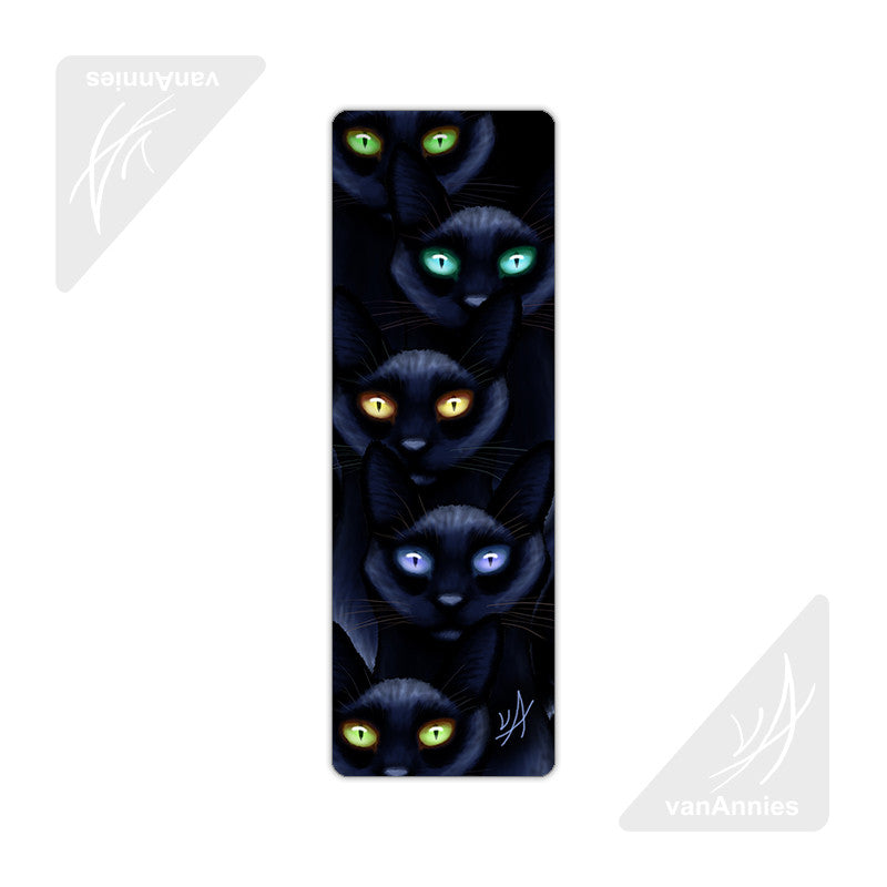 Learn to Love the Dark with Thirteen Black Cats Metal Bookmark