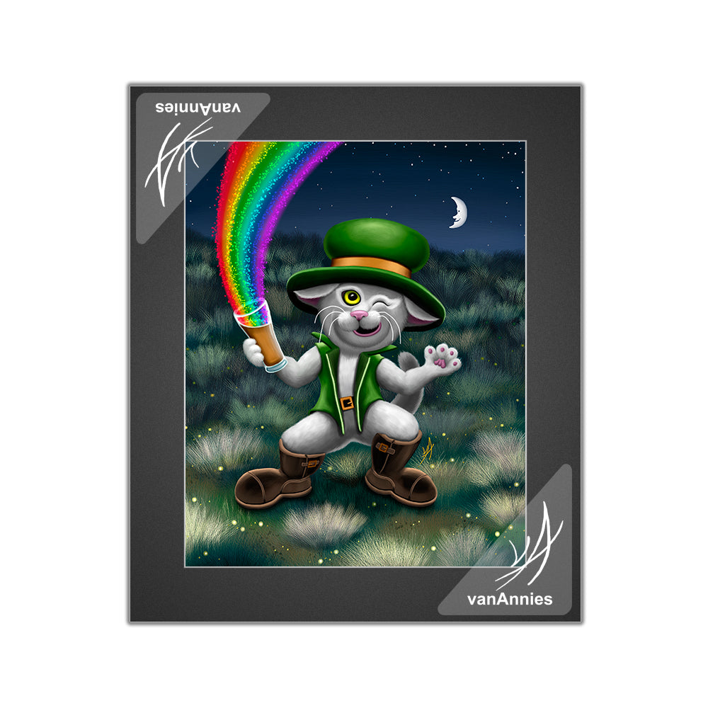 Leprecat (Irish Leprechaun Cat in Green Suit) Matted Print