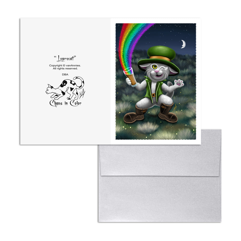 Leprecat (Irish Leprechaun Cat) 5x7 Art Card Print