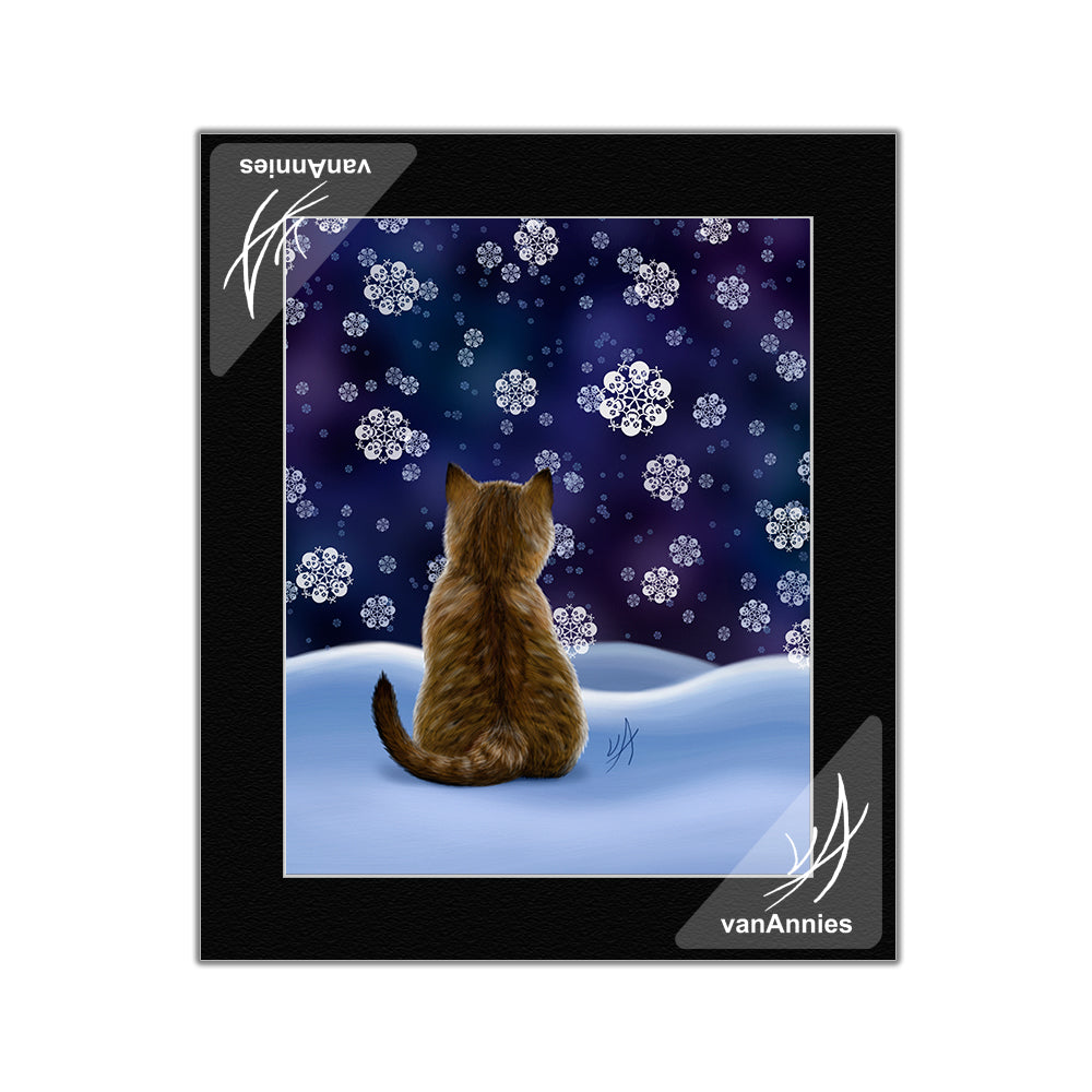 Let It Snow Cat with Skull Snowflakes Matted Art Print