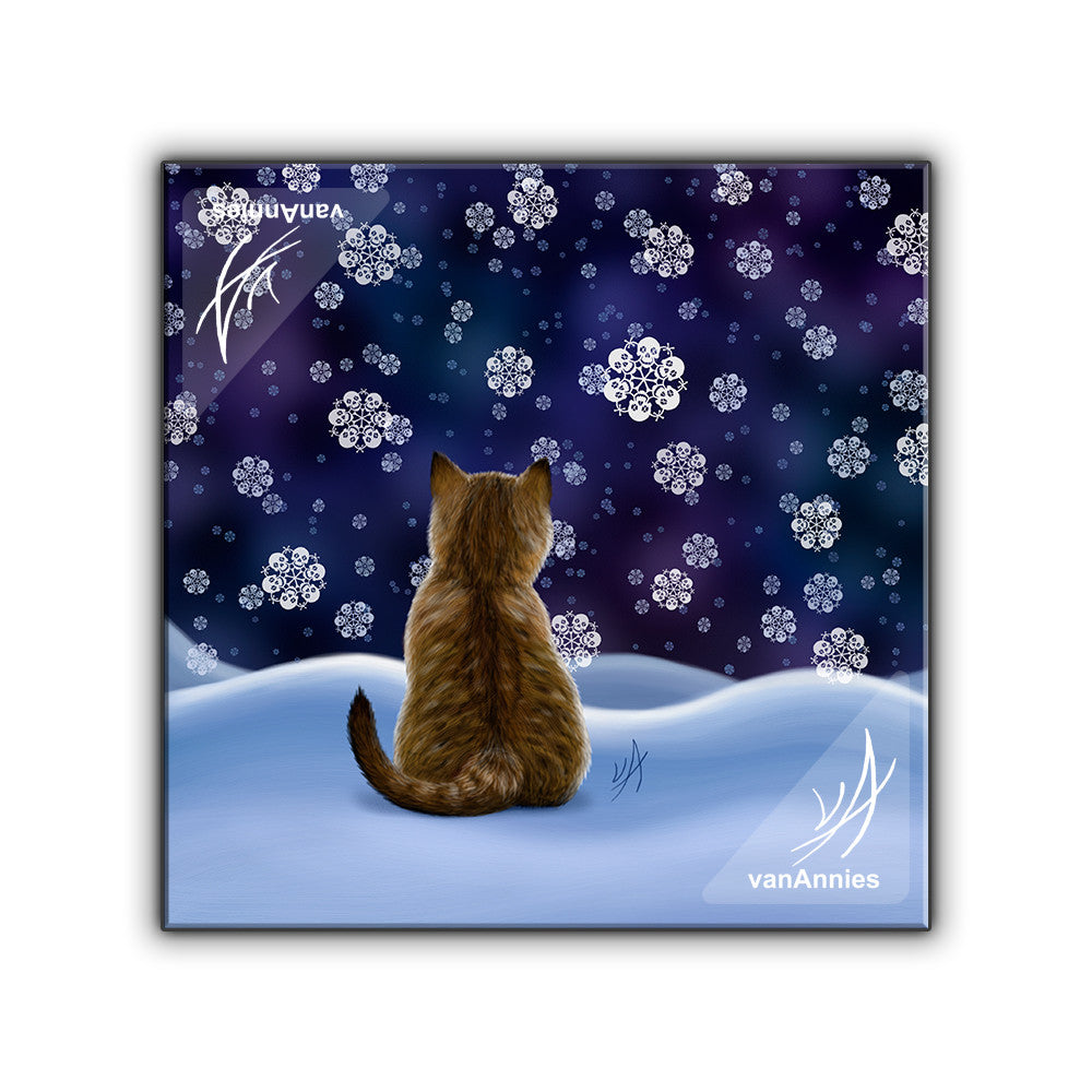 Let It Snow Cat with Skull Snowflakes Wrapped Canvas Print