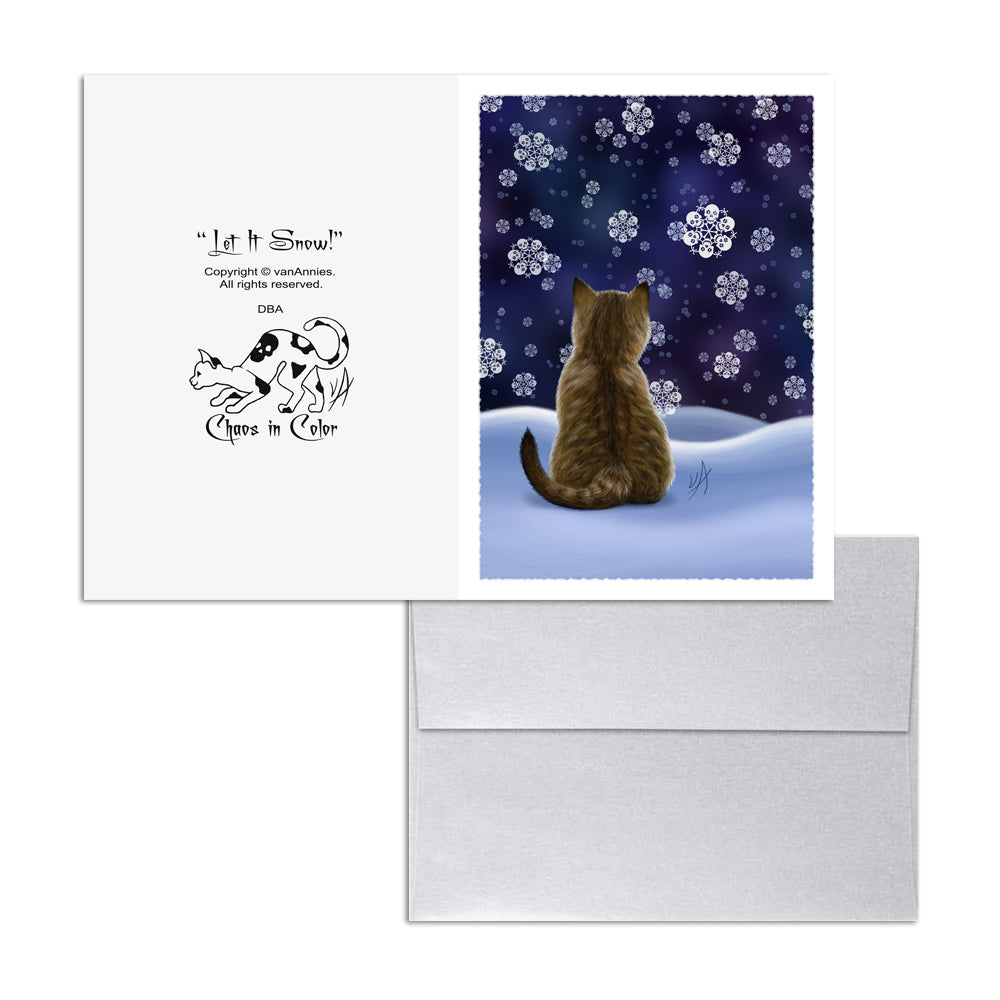 Let It Snow! (Kitten with Skull Flakes) 5x7 Art Card Print