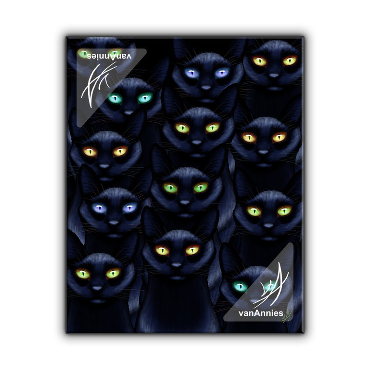 Learn to Love the Dark with Thirteen Black Cats Wrapped Canvas Print