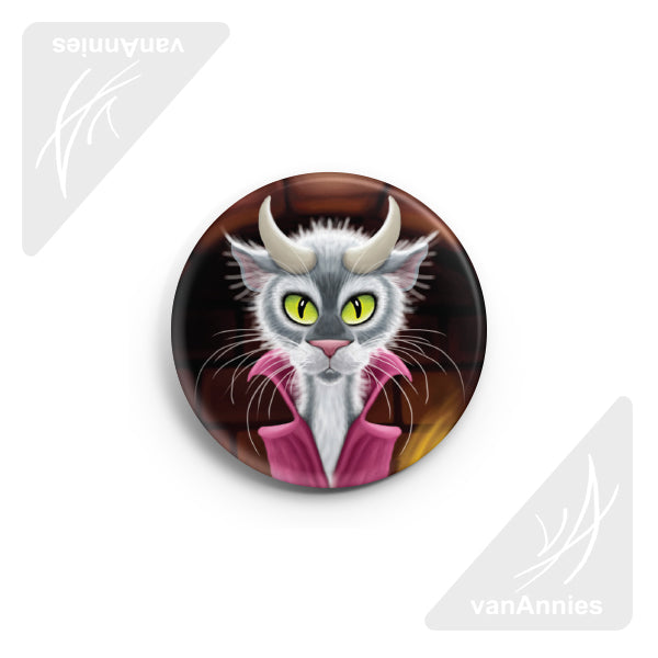 "Lucipurr (Cat with Horns) 2.25"" Pin-back Button"