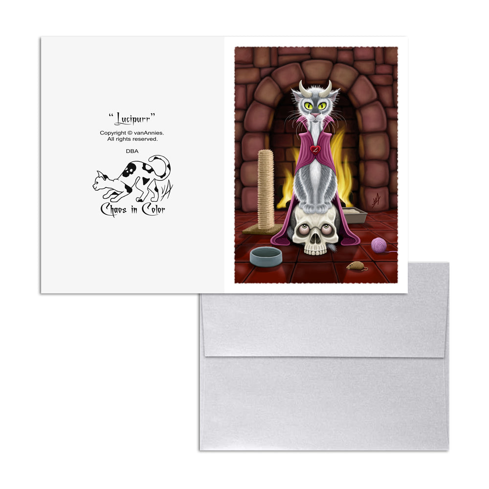 Lucipurr (Cat With Horns) 5x7 Art Card Print