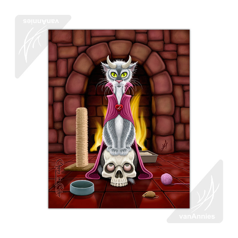 Lucipurr Cat with Horns 11x14 Poster