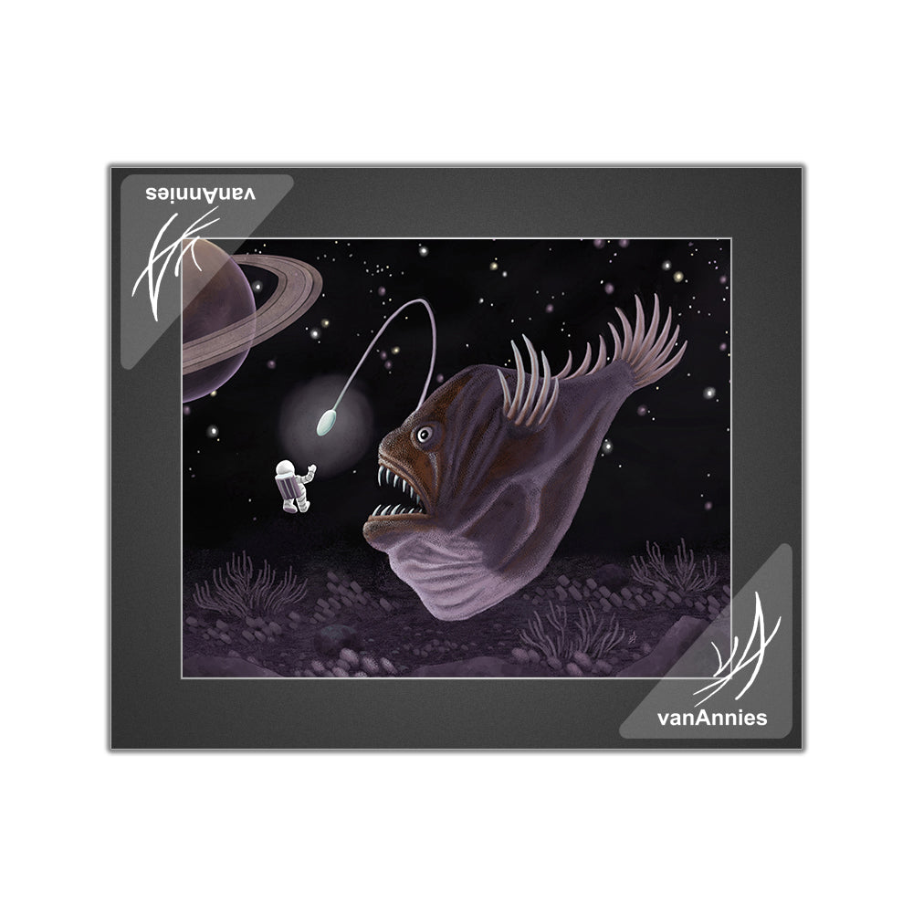 Major Tom and the Outer Space Angler Fish Matted Print