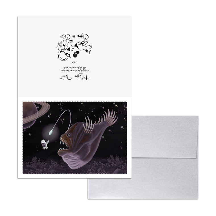 Major Tom and the Outer Space Angler Fish 5x7 Art Card Print
