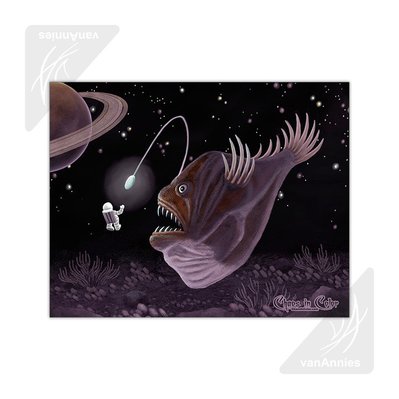 Major Tom and the Outer Space Angler Fish 11x14 Poster