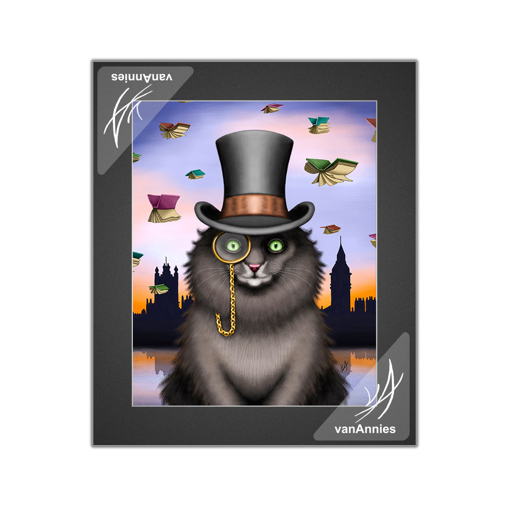 Mycroft the Victorian Cat Matted Print