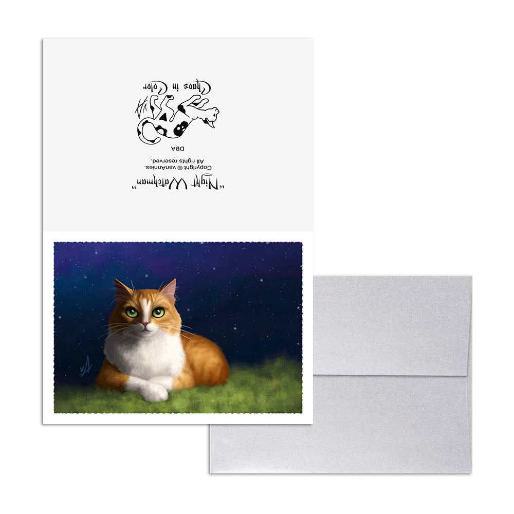 Night Watchman (Cat Under Stars) 5x7 Art Card Print