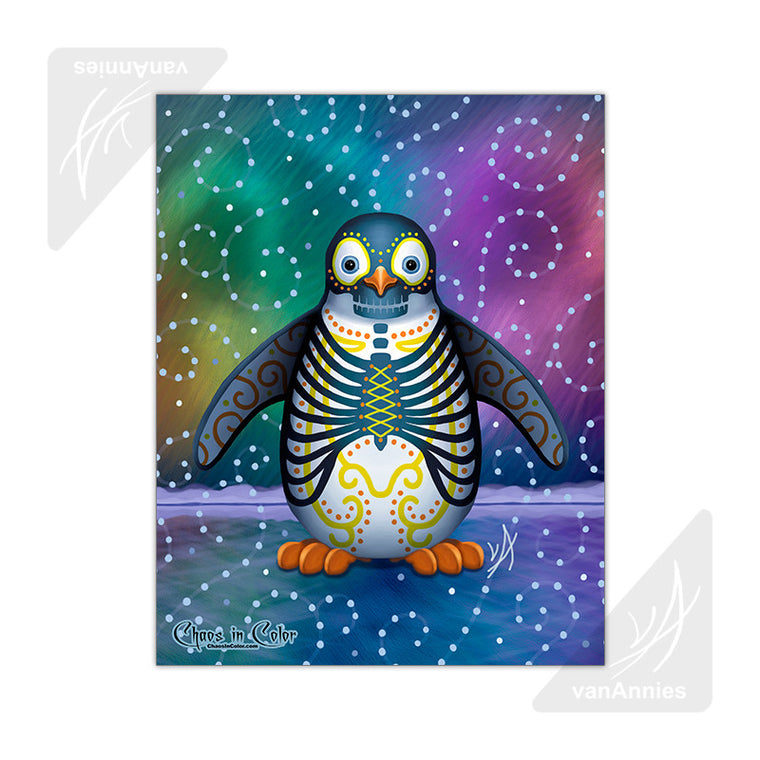 Noche del Pinguino Day of the Dead Penguin 11x14 Poster