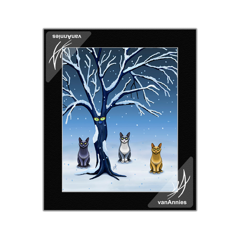 One of Us Cats Under Tree Matted Print