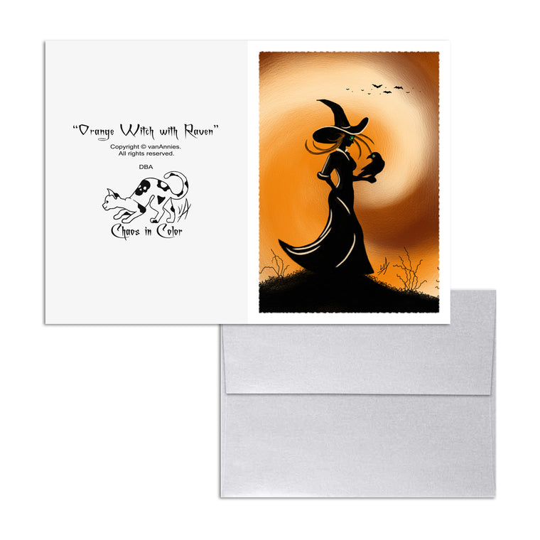 Orange Witch with Raven 5x7 Art Card Print