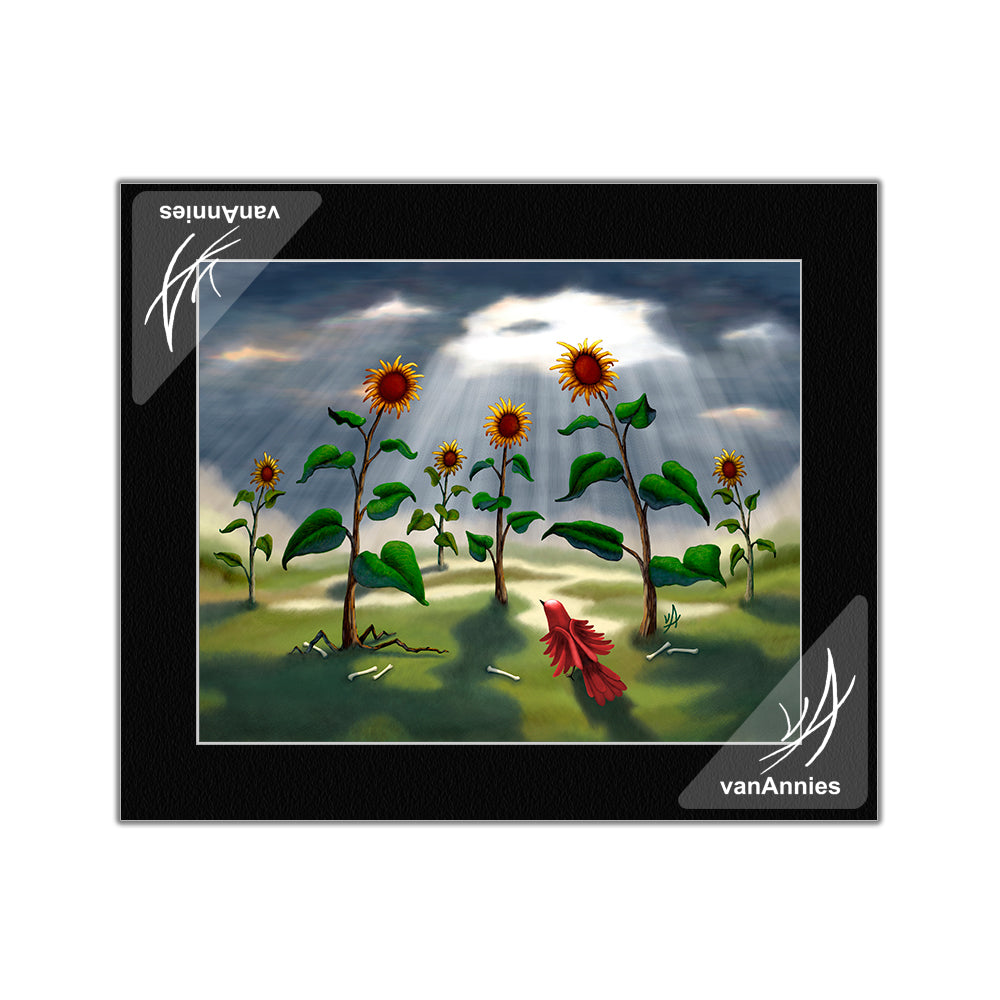 Outnumbered Revenge of the Sunflowers Matted Print
